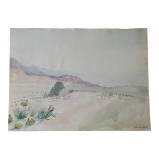 Original Vintage Desert Landscape Watercolor Painting For Sale
