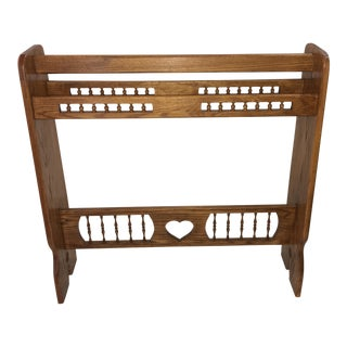Modern Golden Oak Filigree Blanket Rack For Sale
