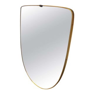 1950s Italian Mid-Century Modern Gio Ponti Style Brass Shield Wall Mirror For Sale
