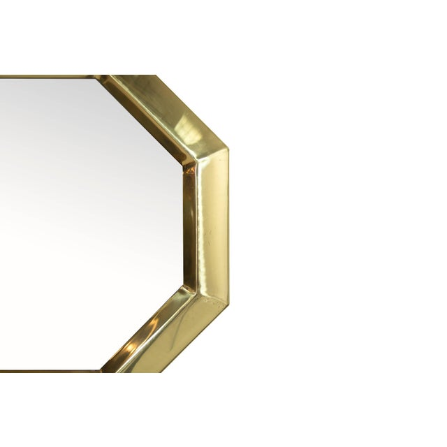 Mid-Century Modern 1950s Octagonal Brass Frame Mirrors - a Pair For Sale - Image 3 of 8