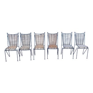 Set of 6 Mid-Century Ficks Reed Bamboo and Metal Chairs For Sale