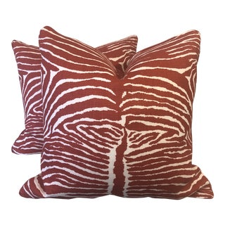 "Brunschwig & Fils ""Le Zebre"" in Red 22"" Pillows-A Pair For Sale"