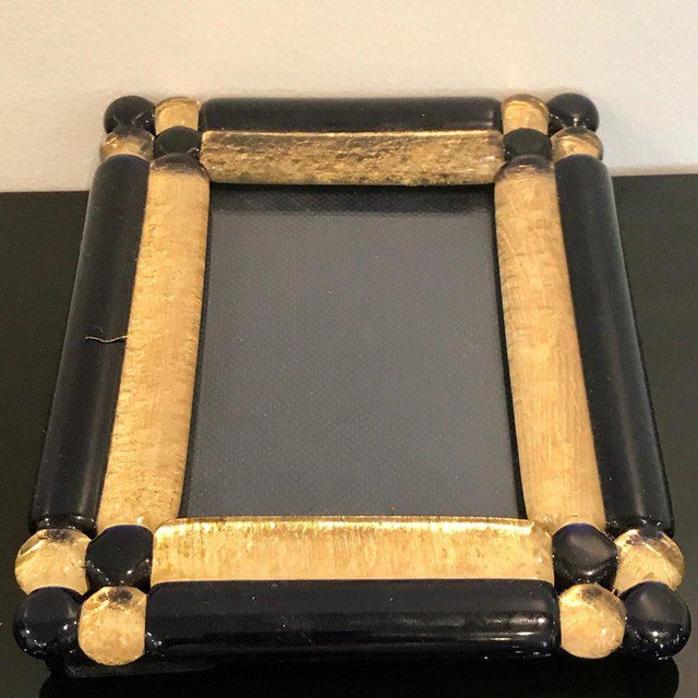 Black Cobalt and Gold Infused Murano Glass Picture Frame For Sale - Image 8 of 9