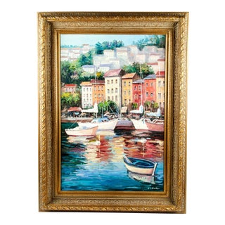 Gilded Wood Frame Oil Painting on Canvas For Sale