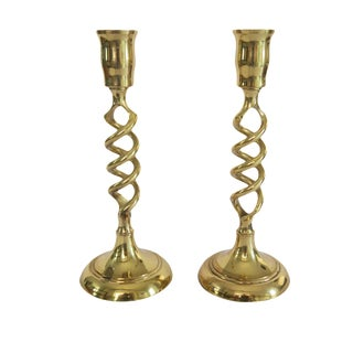Vintage Gold Brass English Barley Twist Taper Candle Holder - A Pair