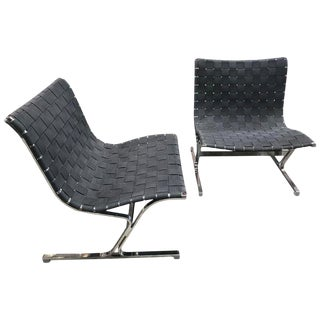 1960s Vintage Ross Littel for Icf De Padova Italian Luar Lounge Chairs - a Pair For Sale