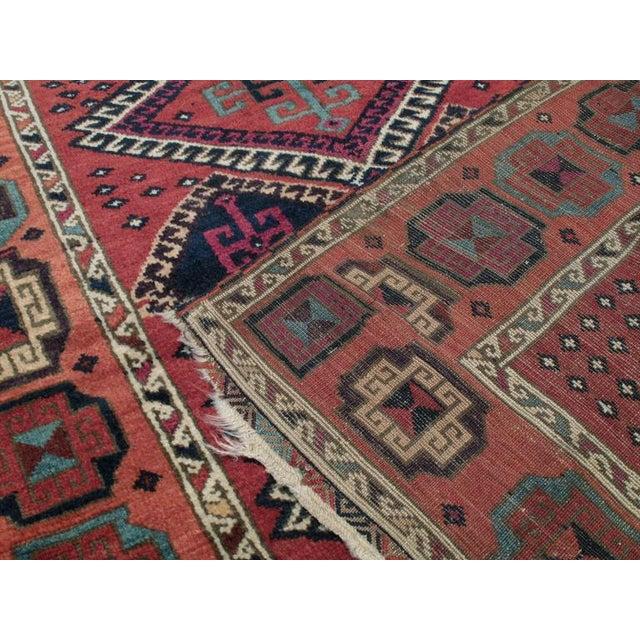 Red Antique Kurdish Long Rug For Sale - Image 8 of 9