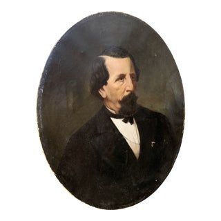 19th-Century Oil on Oval Canvas Portrait Painting For Sale