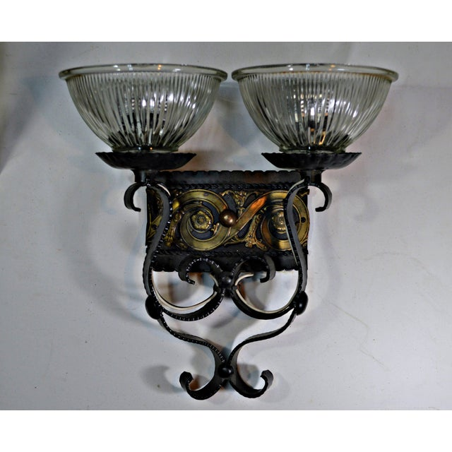 Two Light Egyptian Motif Sconce For Sale - Image 4 of 6