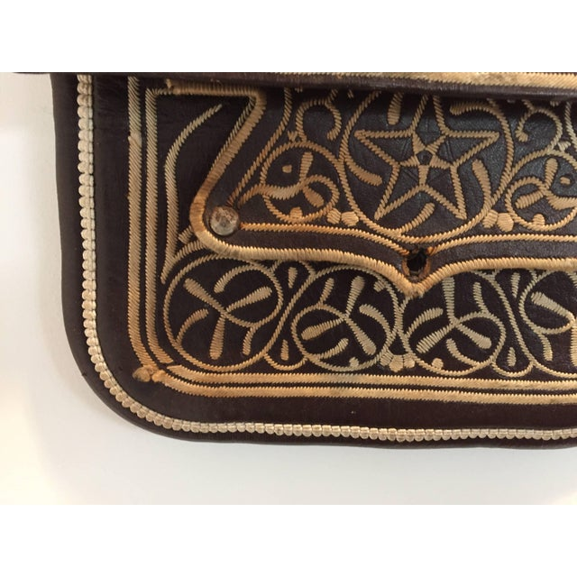 vintage ethnic Berber tribal hand tooled and embroidered leather satchel shoulder cross body bag. Handcrafted by the...