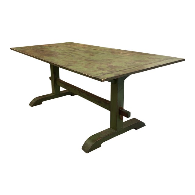 Antique Farmhouse Distressed Green Dining Table For Sale