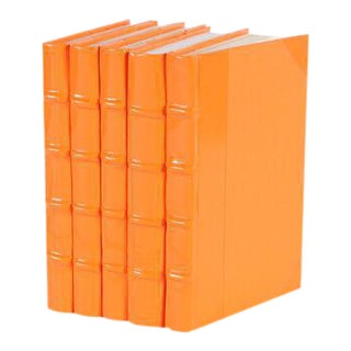 Patent Leather Orange Books - Set of 5 For Sale