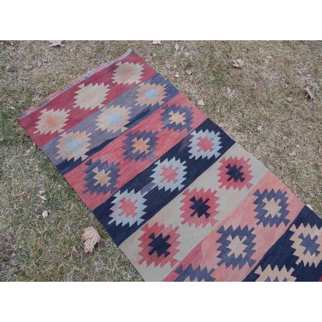 "Textile Vintage Muted Orange Turkish Kilim Runner Rug 2'6"" X 9'4"" For Sale - Image 7 of 13"