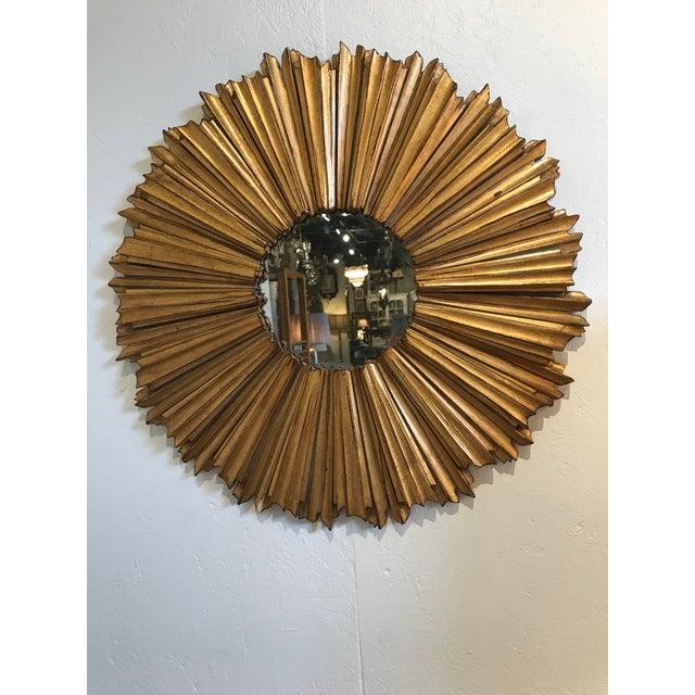 Hollywood Regency Gilt Sunburst Mirror For Sale - Image 4 of 4