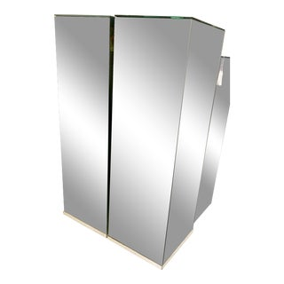 Vintage Pair Tall Mirrored Pedestals For Sale