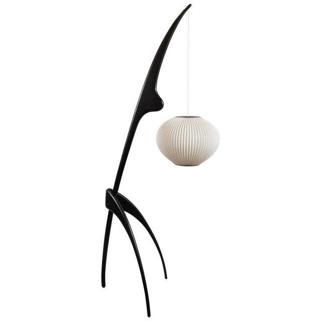 "Mid-Century Modern ""Praying Mantis"" Ebonized Walnut Floor Lamp by Jean Rispal For Sale - Image 10 of 10"