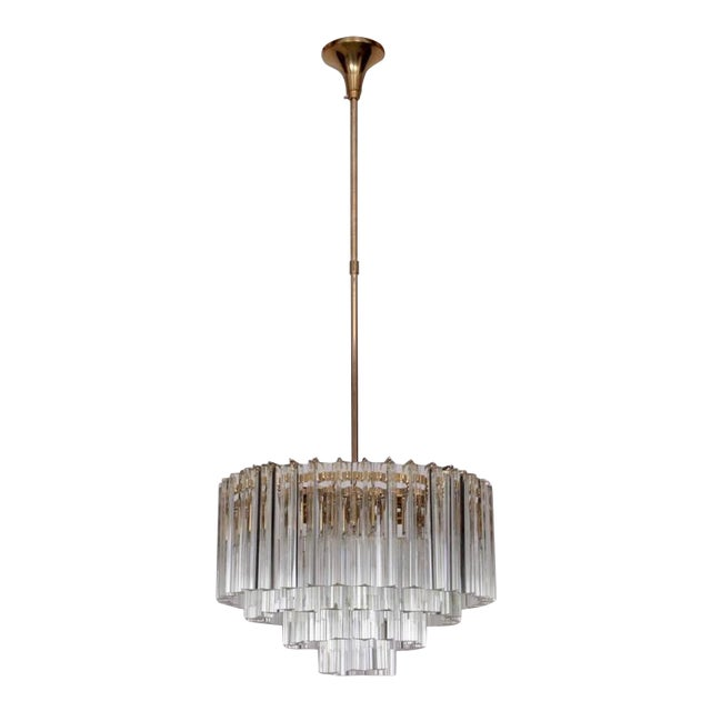 Huge Murano Triedri Glass and Brass Chandelier by Venini For Sale