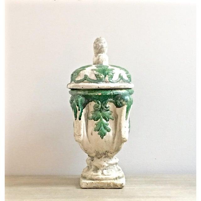 Vintage Mid Century Cast Concrete Lidded Urn For Sale - Image 13 of 13