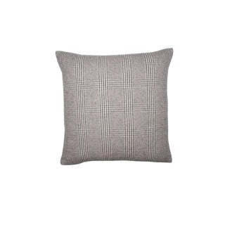 Brown Check Cashmere Pillow, Squar For Sale
