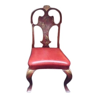Red Chinoiserie Dining Chair For Sale