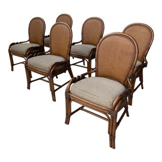 Rattan and Wicker Chairs by Furniture Company Palecek- Set of 6 For Sale