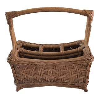 Vintage Bamboo and Wicker Desk Organizer - a Pair For Sale