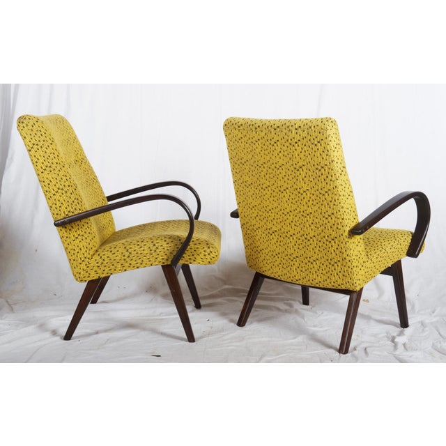 Mid-Century Modern Mid-Century Czech Upholstered Chairs, 1960s - A Pair For Sale - Image 3 of 11