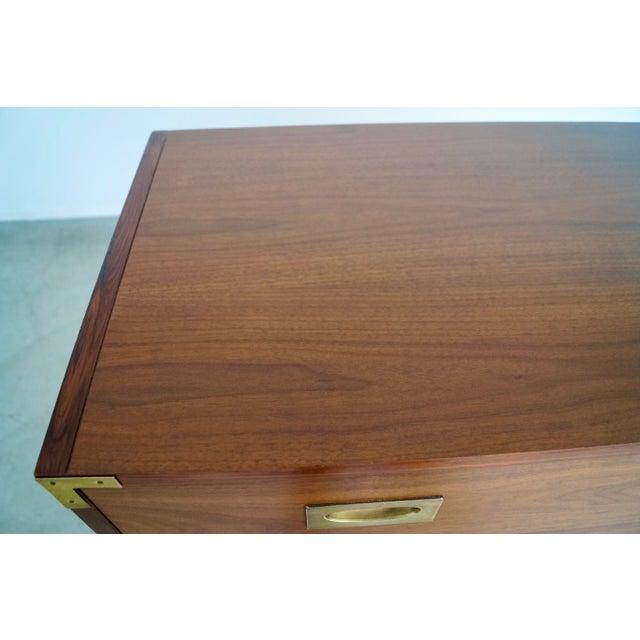Hollywood Regency Walnut Rosewood Campaign Dresser For Sale - Image 11 of 13