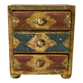 Vintage Gilt Wooden Gold Three Drawer Chest For Sale