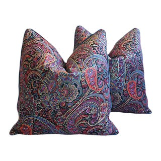 "Lavender English Paisley & Velvet Feather/Down Pillows 25"" Square - Pair"