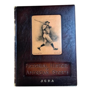 1952 Vintage Pictorial History of American Sports Leather Bound Book For Sale