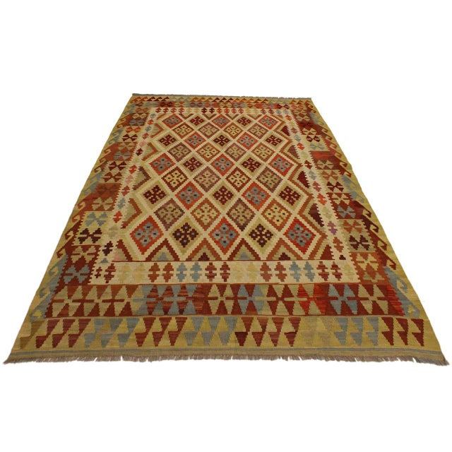 Contemporary Abstract Rosetta Beige/Gold Hand-Woven Kilim Wool Rug -5'10 X 7'8 For Sale - Image 3 of 8