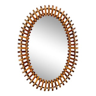 Mid Century Oval Bamboo Framed Wall Mirror For Sale