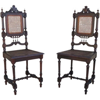 Antique French Hunter's Dining Chairs - A Pair