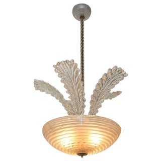 1950s Italian Barovier Murano Glass Leaf Chandelier For Sale