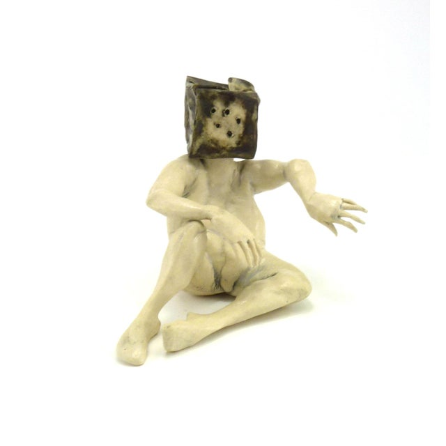Ceramic 1990s Aggie Zed Contemporary Ceramic Figural Sculpture of Boxman For Sale - Image 7 of 7