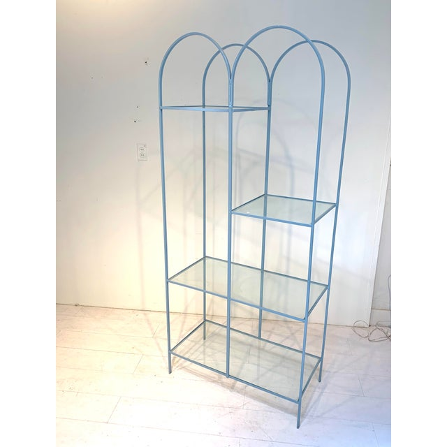 Mid Century Modern Arched Powder Blue Metal and Glass Display Shelf Unit For Sale - Image 4 of 7