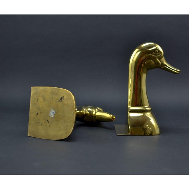 Pair of Solid Brass Duck Head Book Supports by Sarreid, USA, 1970s For Sale - Image 6 of 9