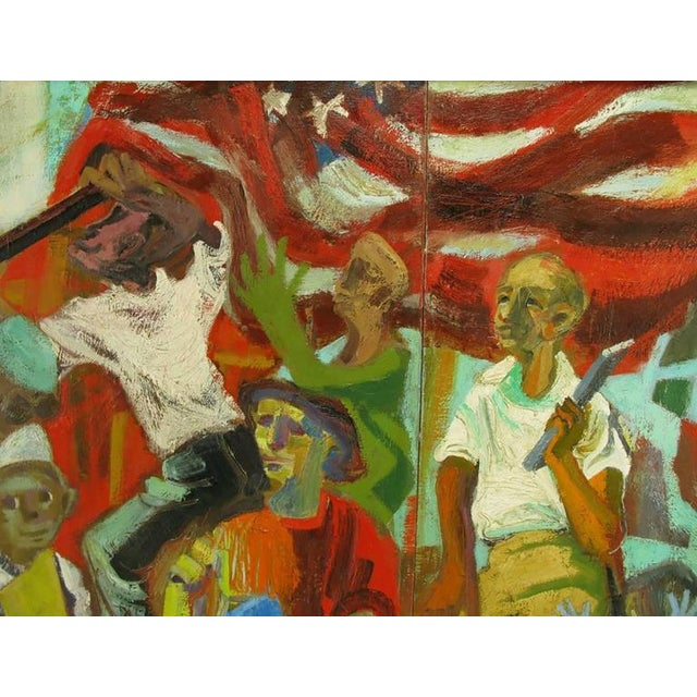 Blue Important 12.5' 1965 Civil Rights Mural by Joan Linsley (1922-2000) For Sale - Image 8 of 11