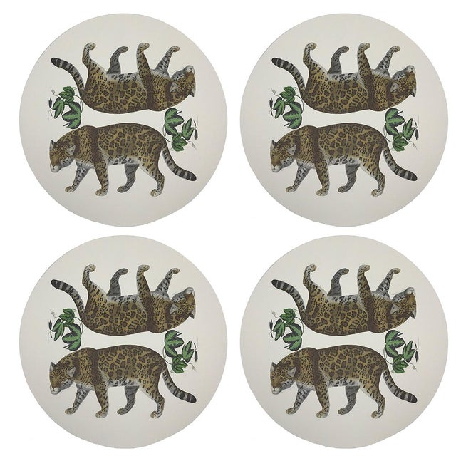 """Contemporary Leopard Seeing Double, 16"""" Round Pebble Placemats, Set of 4 For Sale - Image 3 of 3"""