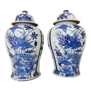 B & W Porcelain Ginger Jars Pair