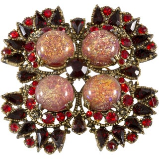 Hobe' Brooch Pin 1960s Vintage Red Cat's Eye Foiled Cabochons Rhinestones For Sale