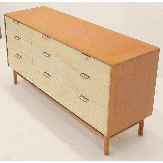 Two Tone Nine Drawer Cerused Oak Long Dresser Credenza by Mengel For Sale - Image 9 of 13