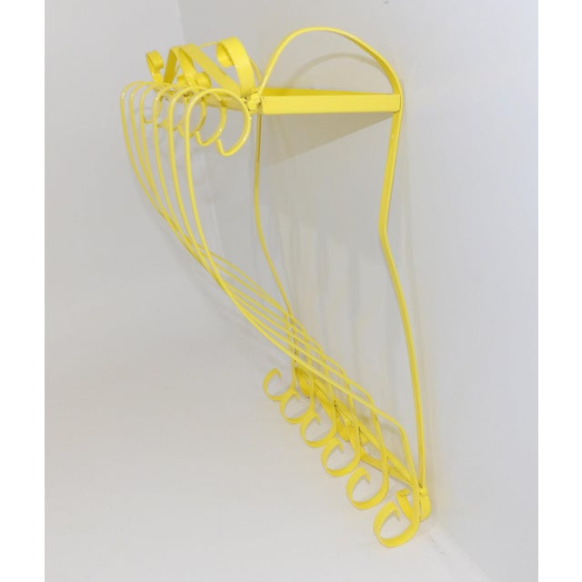 Metal Antique Electric Yellow Wrought Iron Patio Shelf For Sale - Image 7 of 11