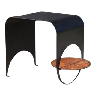 Contemporary Blackened Steel and Oxidized Steel Thin Table 1 For Sale