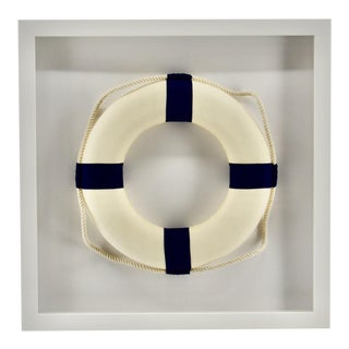 White Life Ring Framed in White Frame for the Beach House For Sale
