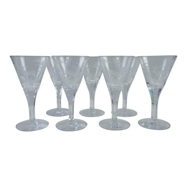 Etched Wildlife Vintage Wine Glasses - Set of 7 For Sale