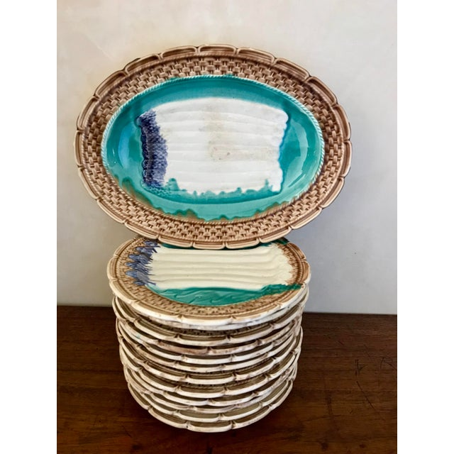 Turquoise French Majolica Asparagus Orchies Platter and Plates - Set of 13 For Sale - Image 8 of 12