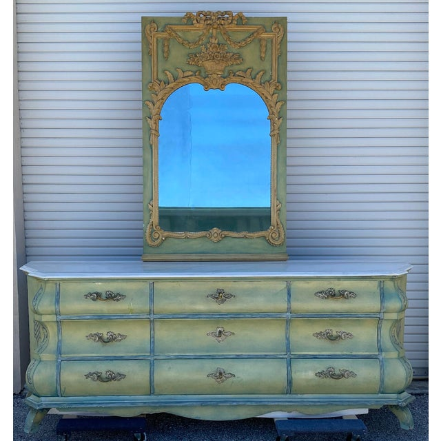 Maslow Freen New York Design Marble Top Dresser & Mirror For Sale - Image 13 of 13