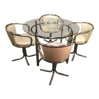 1950s Vintage Veeta Group Italian Chrome & Glass Dining Set - 5 Pieces For Sale
